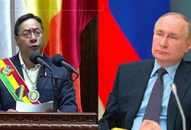 Arce (izq.) y Putin (der.) sostuvieron una llamada donde abordaron el tema