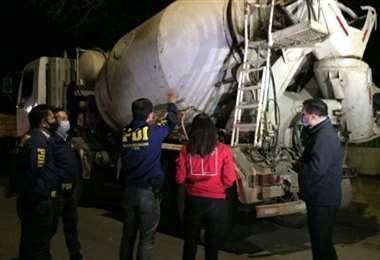 El camión interceptado con la droga. Foto: La Tercera