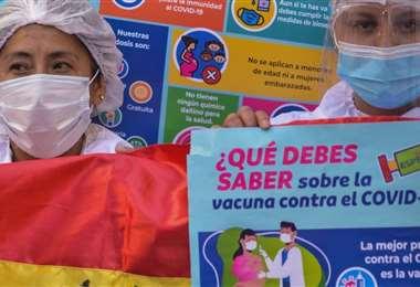La campaña por la inmunización en Bolivia (Foto: ABI)