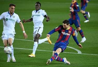 Messi marcó dos goles este jueves ante Getafe. Foto: AFP