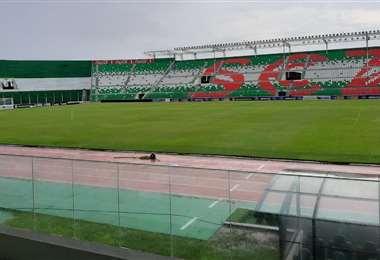 Así lucía el estadio Tahuichi Aguilera en el momento de la suspensión. Foto: Harold Vaca