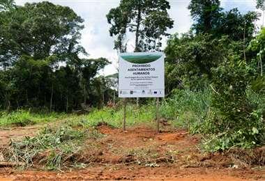 Letreros indican que están prohibidos los asentamientos en las AP/Foto: Claudia Belaunde