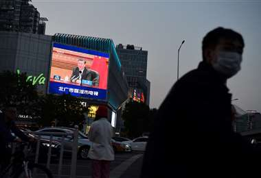 Xi Jinping enviando un mensaje a la población china. Foto AFP