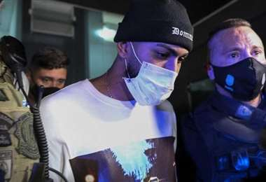 Gabigol cuando fue detenido en marzo en un casino de Sao Paulo. Foto: internet