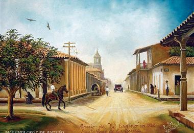 El centro cruceño recreado en una pintura de Carlos Cirbián