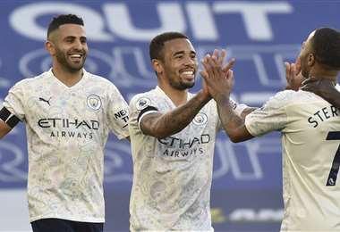 Gabriel Jesús celebrando el segundo gol del City. Foto: AFP