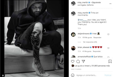 Ricky Martin mostró su nuevo tatuaje en su cuenta de Instagram