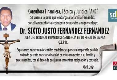 Condolencias por el fallecimiento del juez Sixto Fernández
