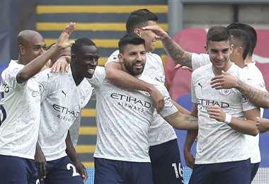 Sergio Agüero festejando su gol. Foto: AFP