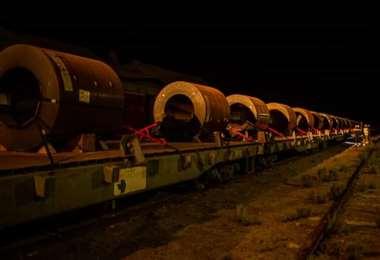 Estas bobinas de acero desde ayer se encuentran en Viacha (La Paz)