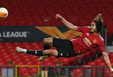 Cavani ha marcado ocho goles en los últimos siete partidos del United. Foto: AFP