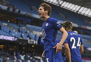 El Chelsea celebró la victoria ante el City, en el ensayo de la final. Foto: AFP