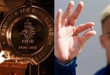 El trofeo (izq.) de campeón transformado en estrellas (dcha.) para los socios. Foto: Inter
