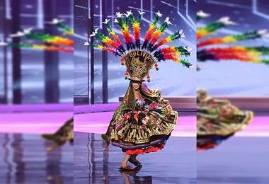 . Con su traje típico, que lució elevando las polleras al aire. Fotos: Miss Universo