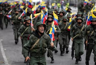Soldados venezolanos en un ejercicio militar en marzo de 2021