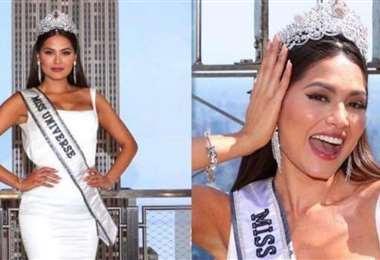 La Miss Universo durante su vida al edificio Empire State en Manhattan