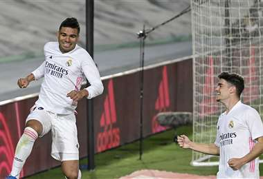 Casemiro celebrando su gol. Foto: AFP