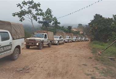 Los 66 policías viajaron durante 18 horas para llegar al municipio de Mapiri
