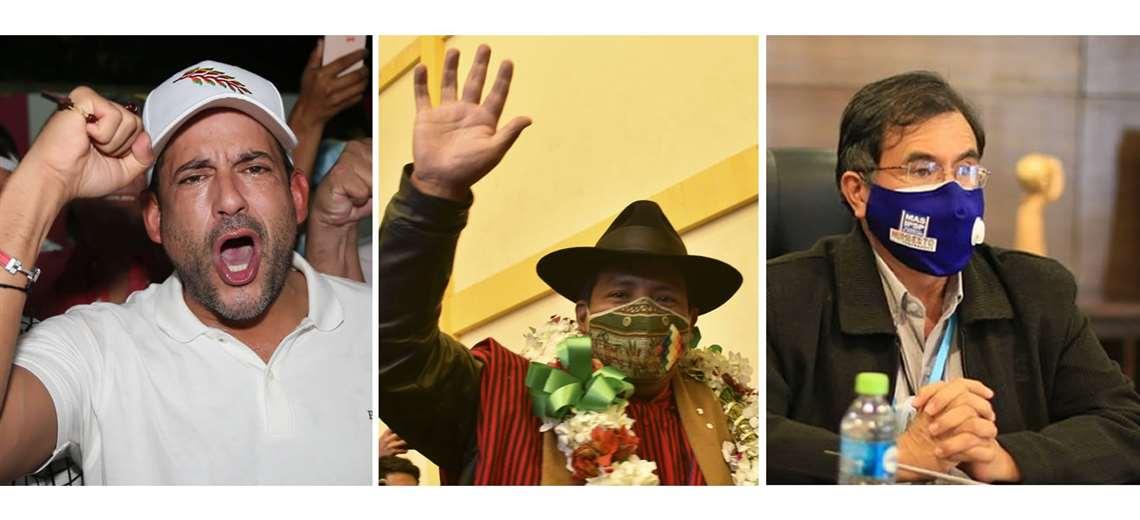 Los nuevos gobernadores de Santa Cruz, La Paz y Cochabamba. Foto: Archivo EL DEBER