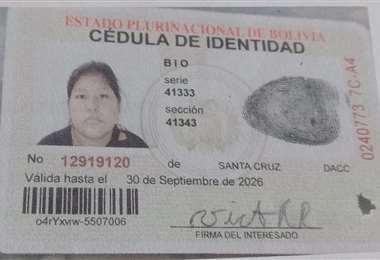 Documento de mujer hallada muerta en Yapacaní