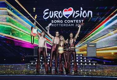 La banda italiana Maneskin, en el escenario de Eurovisión. Foto: AFP