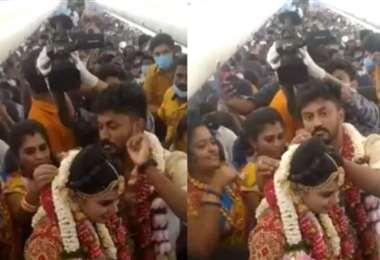 Se armó la boda en un avión