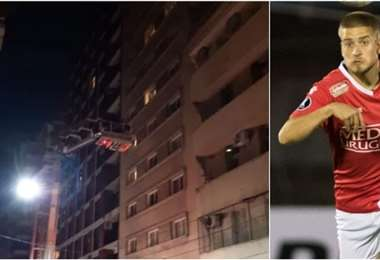 El momento del rescata al jugador Francisco Duarte del piso 11 del hotel. Foto: internet