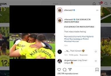 Captura de pantalla del video publicado por el Villarreal en Instagram