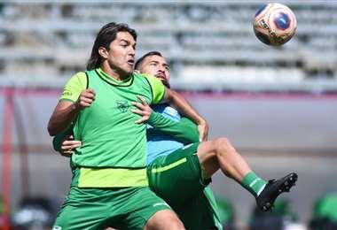 Marcelo Martins, en la práctica de fútbol que realizó la selección. Foto: FBF