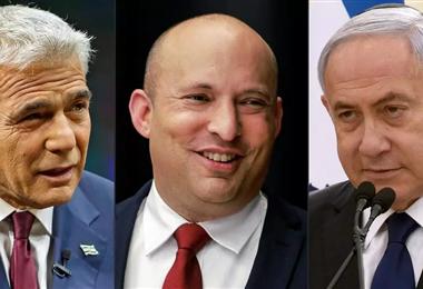 Yair Lapid (centrista), Naftali Bennett (derecha radical) y B.Netanyahu