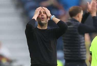 La imagen de Guardiola durante la final de la Champions. Foto: AFP