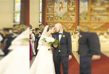 Esposos. Sofía y Rudy, convertidos en marido y mujer. Foto: Pablo Manzoni