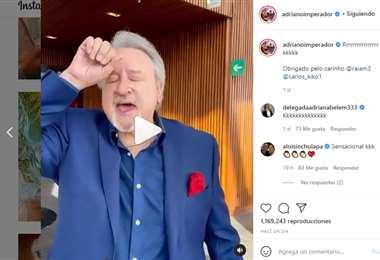 Captura de pantalla del video que publicó Adriano en Instagram