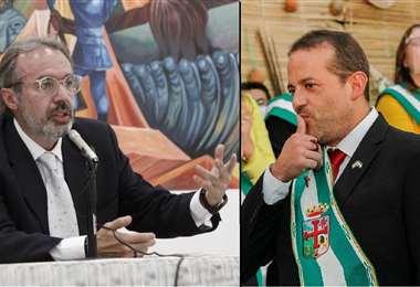 Foto referencial. Richter (izq.), el vocero presidencial, y Camacho, gobernador cruceño