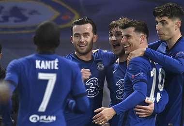 Los jugadores del Chelsea celebrando ante el Real Madrid. Foto: AFP