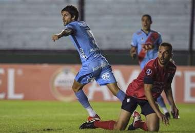 Lucas Albertengo festeja su gol ante Wilstermann. Foto:  AFP