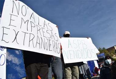 Protesta del transportistas en La Paz/Foto: APG