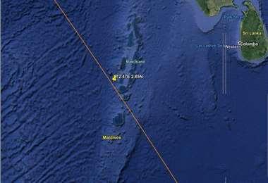 La zona impactada es cercana a las islas Maldivas.