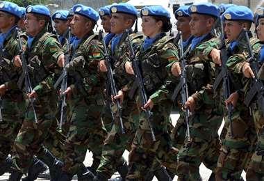 Un grupo de militares de los casos azules en una misión internacional