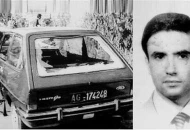 Juez Rosario Livatino y el vehículo en que fue asesinado en 1990