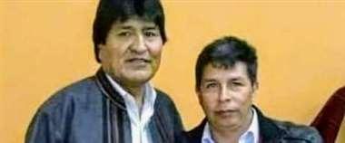La única foto que exhibe Evo Morales junto al profesor, Pedro Castillo