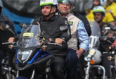 Bolsonaro en el acto por el que fue multado