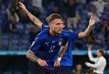 El festejo de Ciro Immobile, delantero de la selección italiana. Foto. AFP
