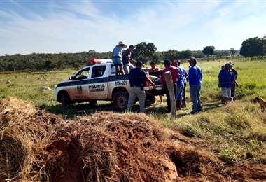 Foto Juan Pablo Cahuana: la Felcc levantó los dos cadáveres en la comunidad fronteriza.