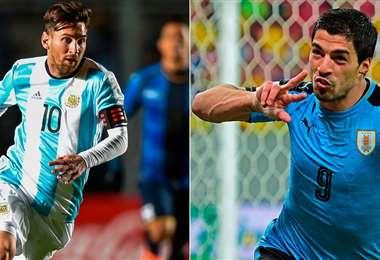 Messi y Luis Suárez, figuras de Argentina y Uruguay, respectivamente. Foto: internet