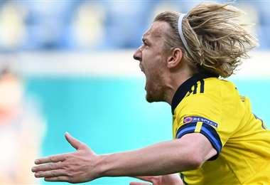 El grito de gol enloquecido de Emil Forsberg para darle el triunfo a Suecia. Foto: AFP