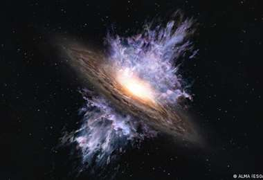 Impresión artística del viento del agujero negro.