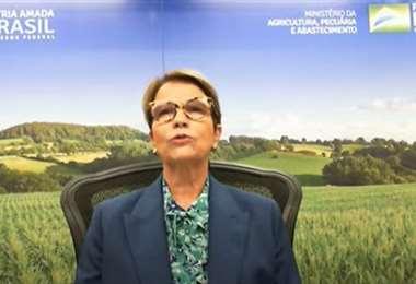 La ministra de Agricultura de Brasil, Tereza Cristina Dias, durante una rueda de prensa
