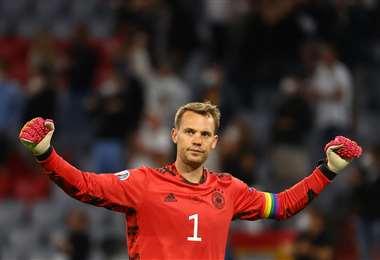La celebración de Manuel Neuer, arquero de Alemania. Foto: AFP