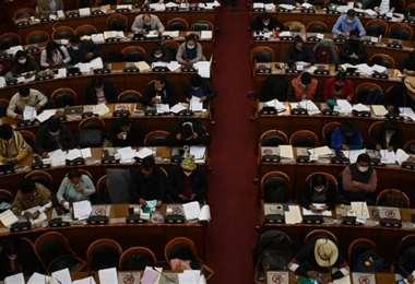 Los diputados del MAS ignoraron las medidas de bioseguridad (Foto: APG Noticias)